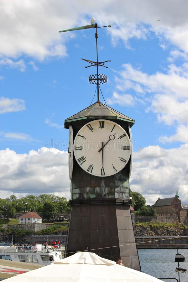 In Oslo, Norway, Scandinavia, Europe. Clock tower in the port Pipervika in Oslo royalty free stock images