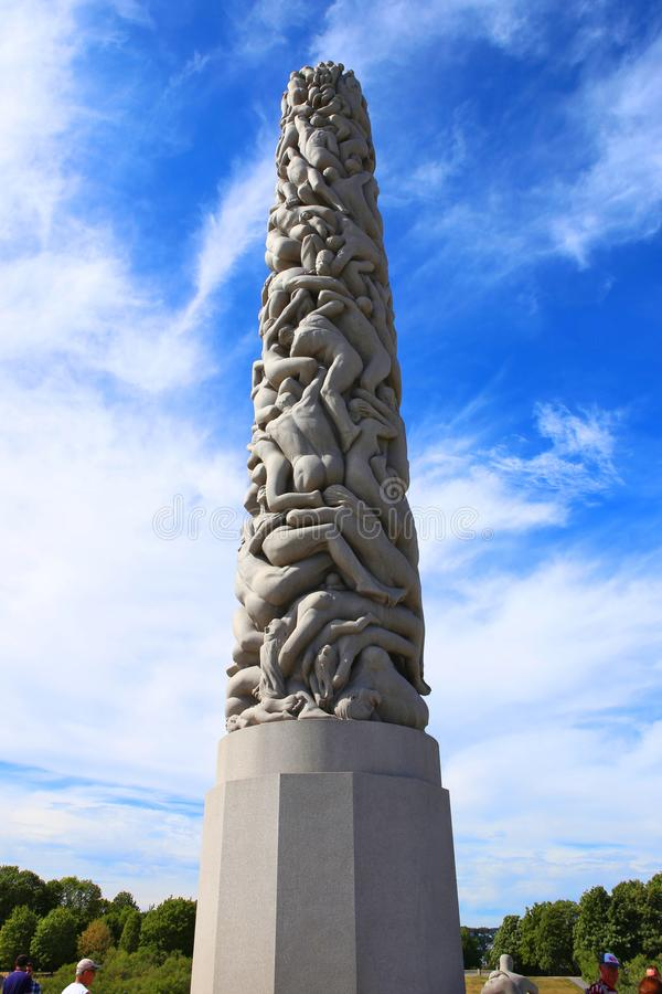 Oslo, Norwegen - 22. Juli 2018: Skulptur an Vigeland-Park lizenzfreies stockfoto