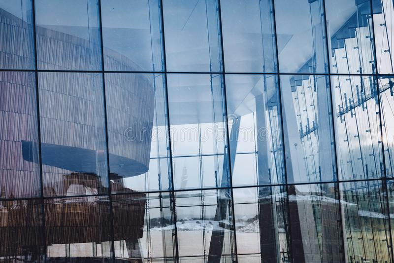 The Oslo opera house glass facade. Architecture, bulding and travel concept stock images