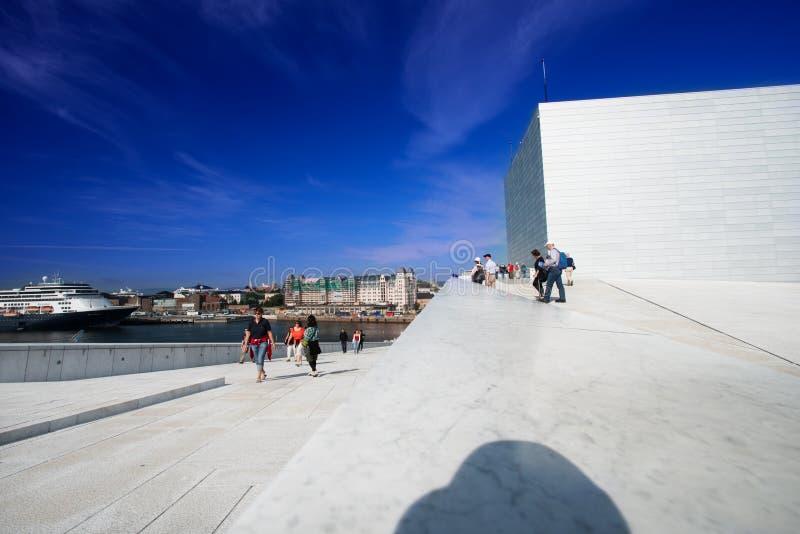 Oslo Opera House people stock image