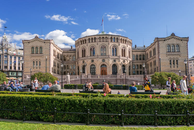 Oslo Parlament on summer day stock photography