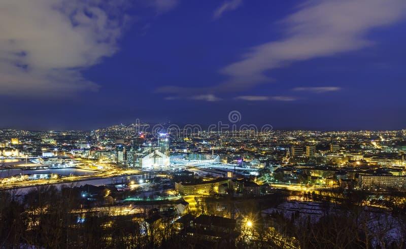 Oslo przed świtem, Norwegia zdjęcia stock