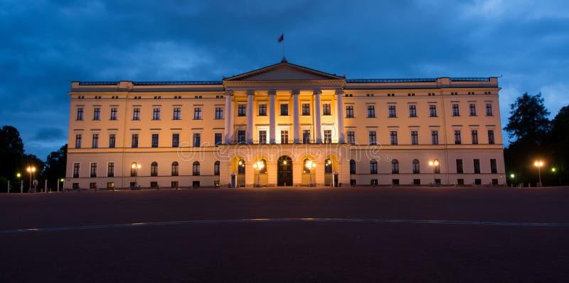 Oslo Royal Palace. Panorama of Royal Palace at night in Oslo, Norway royalty free stock images