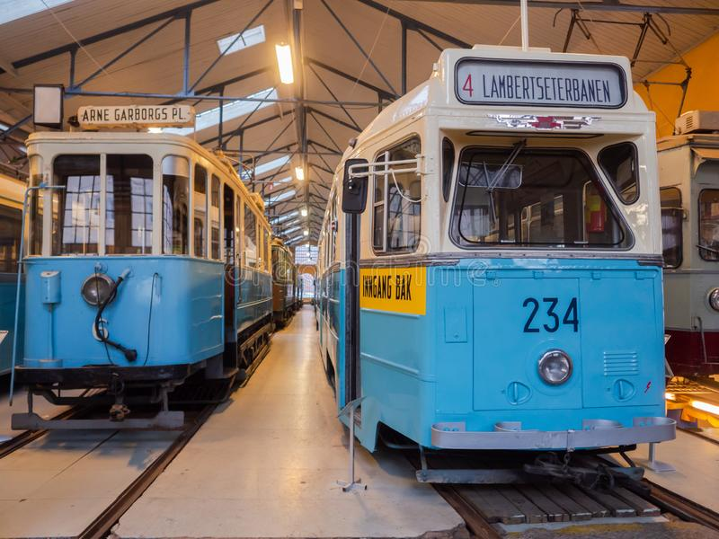 Oslo Transport Museum, Norway. Oslo, Norway - December 29, 2018: Hoka tram at Oslo Transport Muesum Majorstuen, Oslo, Norway. The Hoka was manufactured in 1957 stock photography