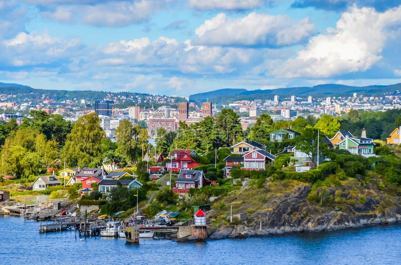 Oslo une ville dans le fjord image libre de droits
