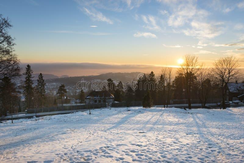 Oslo zmierzchu pejzażu miejskiego panorama fotografia royalty free