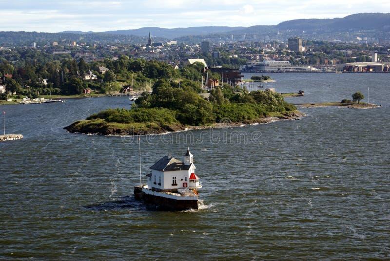 Oslofjord en de stad van Oslo stock afbeeldingen