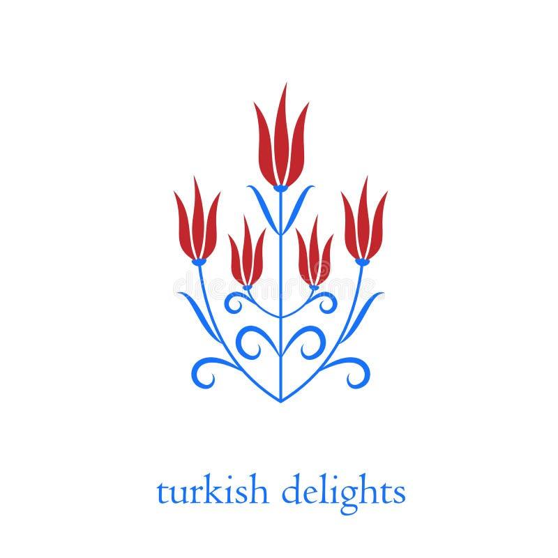Osmańska turecka tulipanu wektoru ilustracja ilustracji