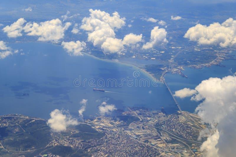 Osman gazi bridge from sky near gebze city in Turkey stock photo