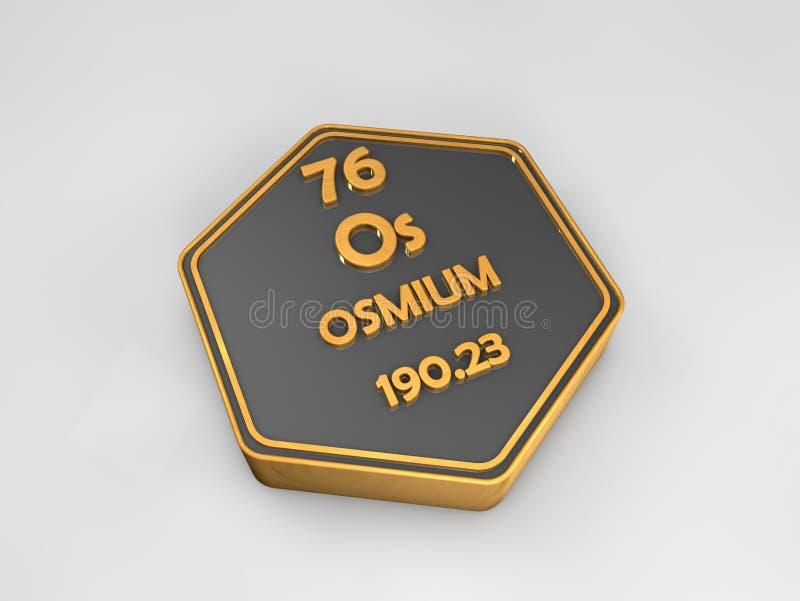 Osmium Os Chemical Element Periodic Table Hexagonal Shape Stock