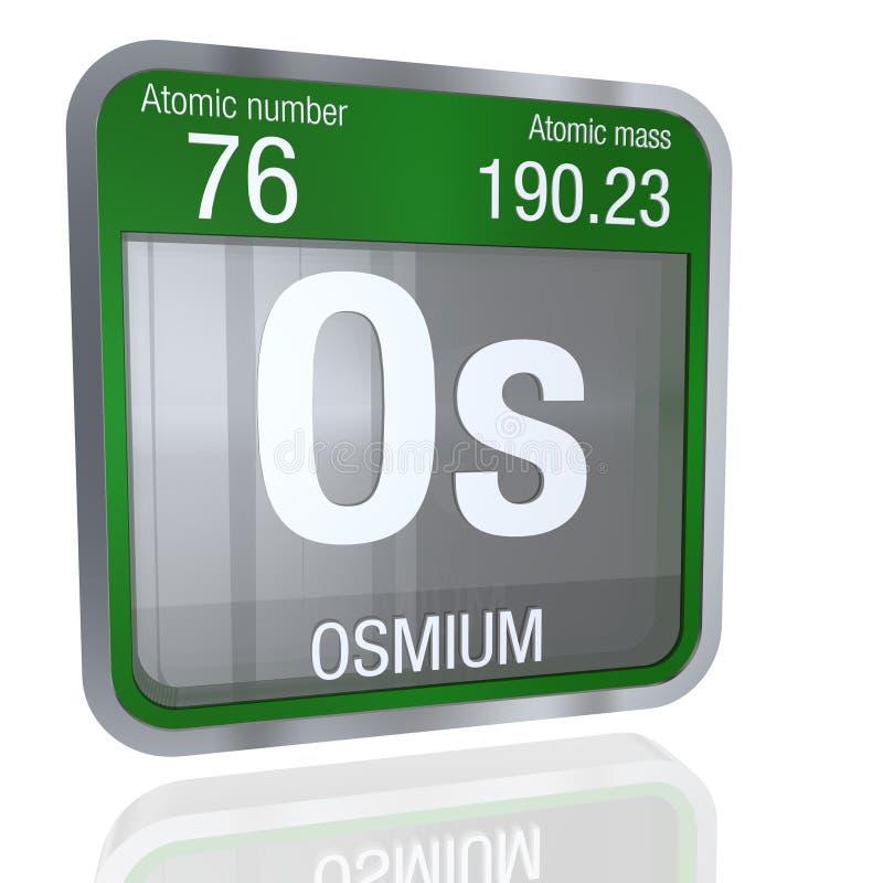 Osmium Symbol In Square Shape With Metallic Border And Transparent