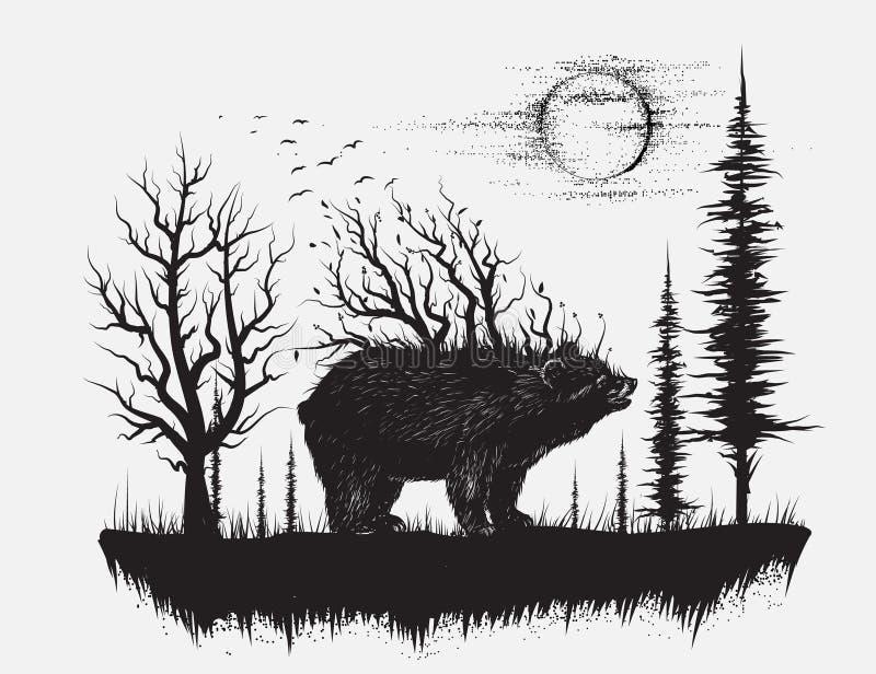 Oso abstracto en el bosque extraño ilustración del vector
