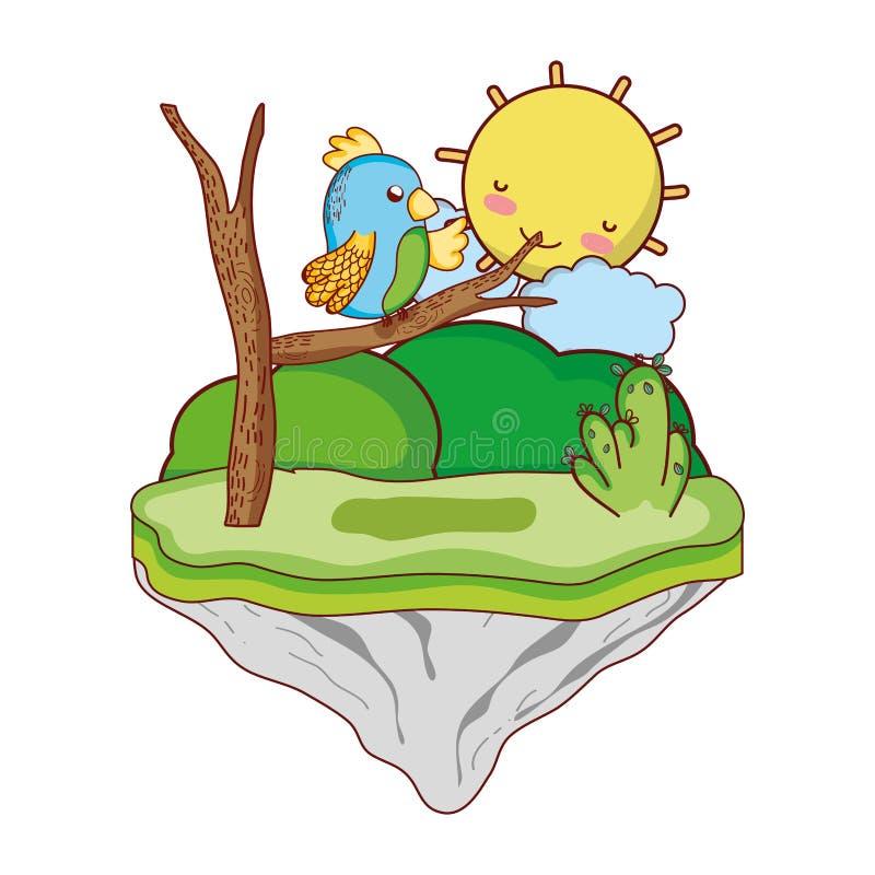 Oso agradable con la rama en la isla del flotador ilustración del vector