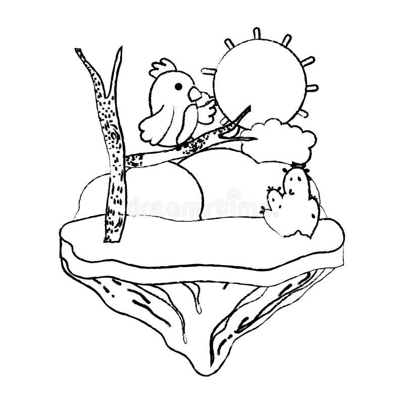 Oso agradable del Grunge con la rama en la isla del flotador stock de ilustración