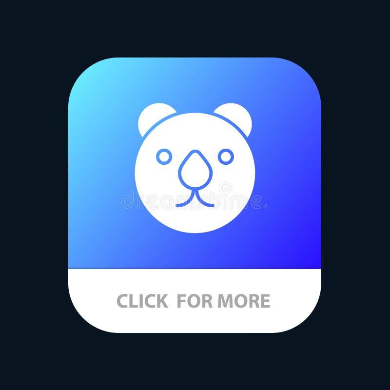 Oso, cabeza, botón móvil despredador del App Android y versión del Glyph del IOS stock de ilustración