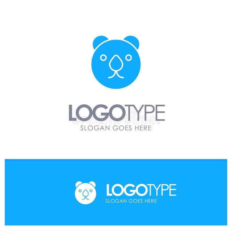 Oso, cabeza, logotipo sólido azul despredador con el lugar para el tagline stock de ilustración