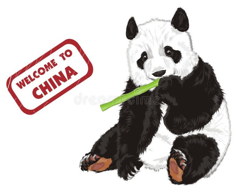 Oso con el sello y la comida ilustración del vector