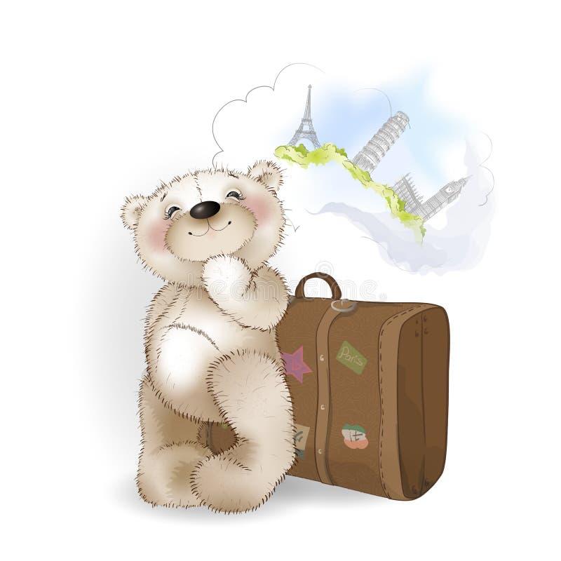 Oso con la maleta del equipaje stock de ilustración