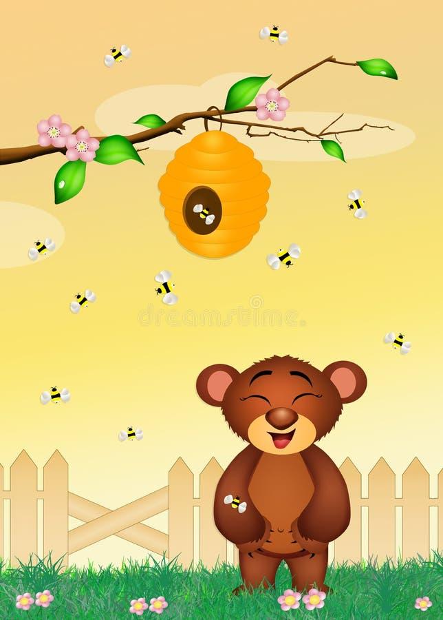 Oso con las abejas stock de ilustración