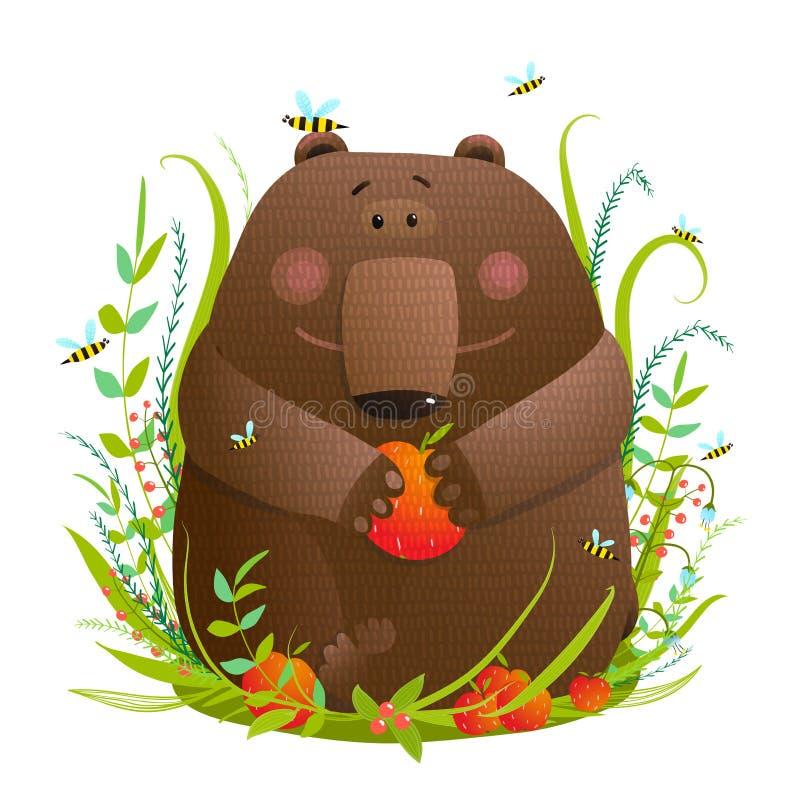Oso Cub que come manzanas en bosque stock de ilustración