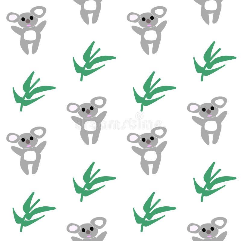 Oso de Coala con el modelo inconsútil del eucalipto ilustración del vector
