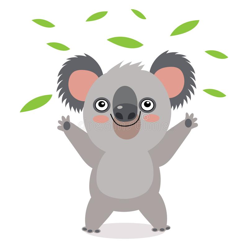 Oso de koala divertido con las hojas verdes La más divertido animal australiano libre illustration