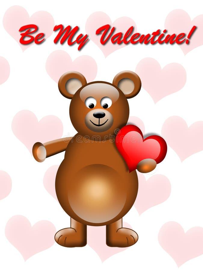 Oso de las tarjetas del día de San Valentín con el corazón ilustración del vector