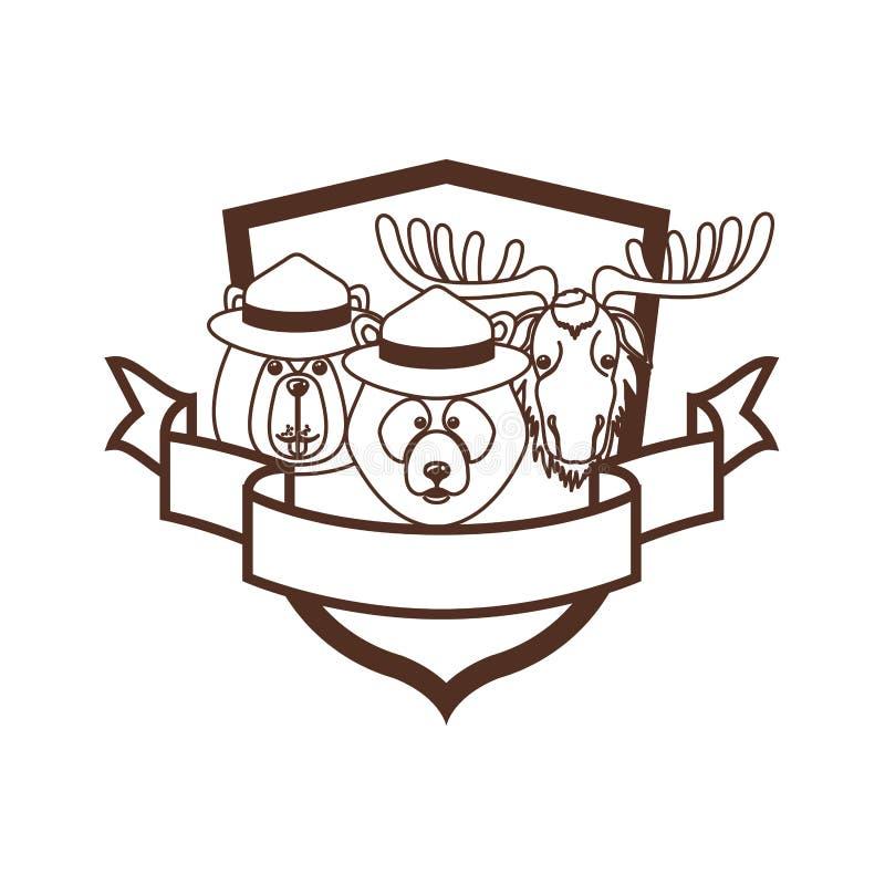 Oso de los alces y animal del castor del diseño de Canadá ilustración del vector
