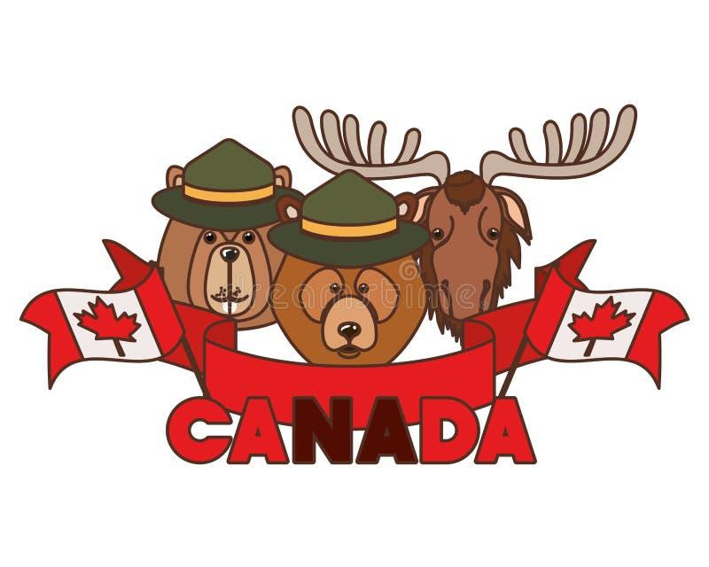 Oso de los alces y animal del castor del diseño de Canadá libre illustration