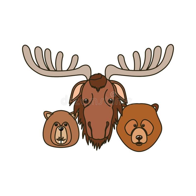 Oso de los alces y animal del castor del diseño de Canadá stock de ilustración