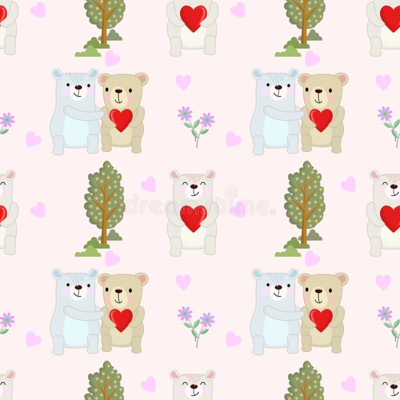 oso de los pares con forma del corazón en fondo rosado del color ilustración del vector