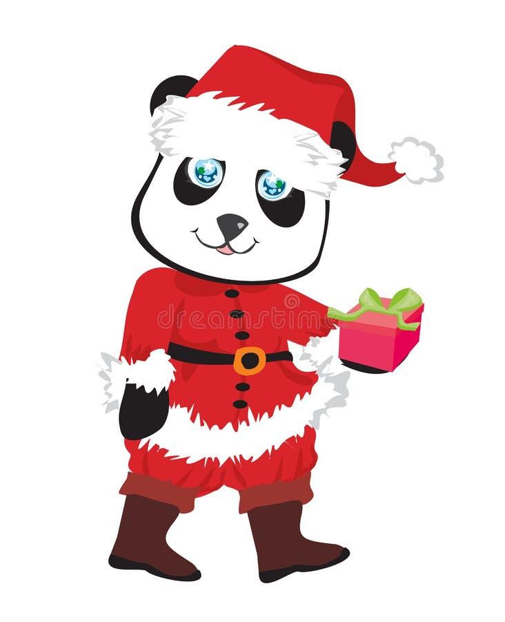 oso de panda en el traje de Papá Noel rojo aislado stock de ilustración