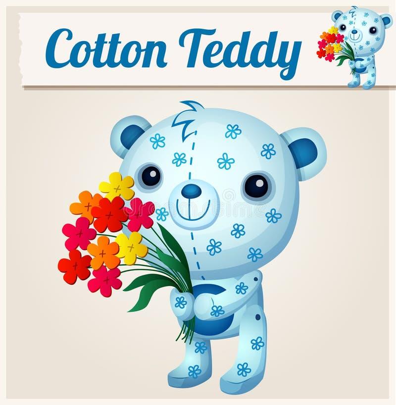 Oso de peluche azul del algodón Ilustración de la historieta stock de ilustración