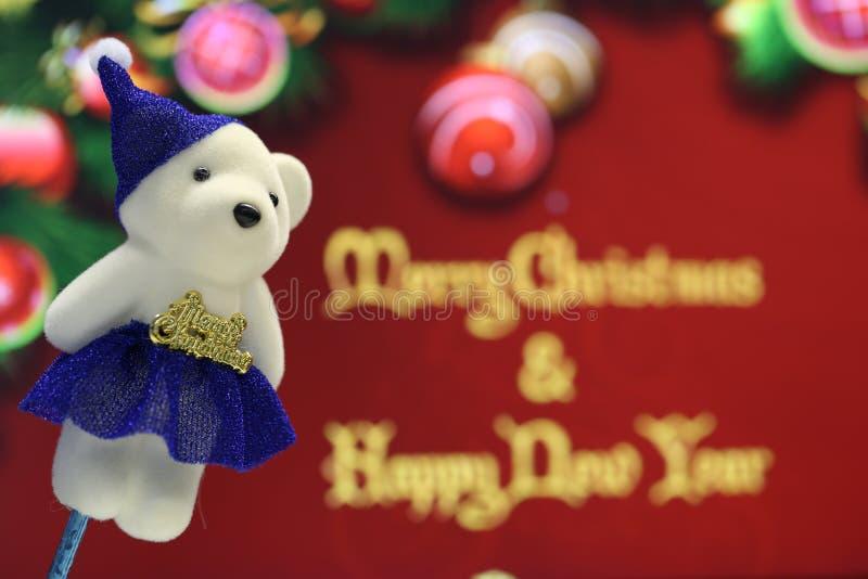 Oso de peluche blanco de la Feliz Navidad fotografía de archivo