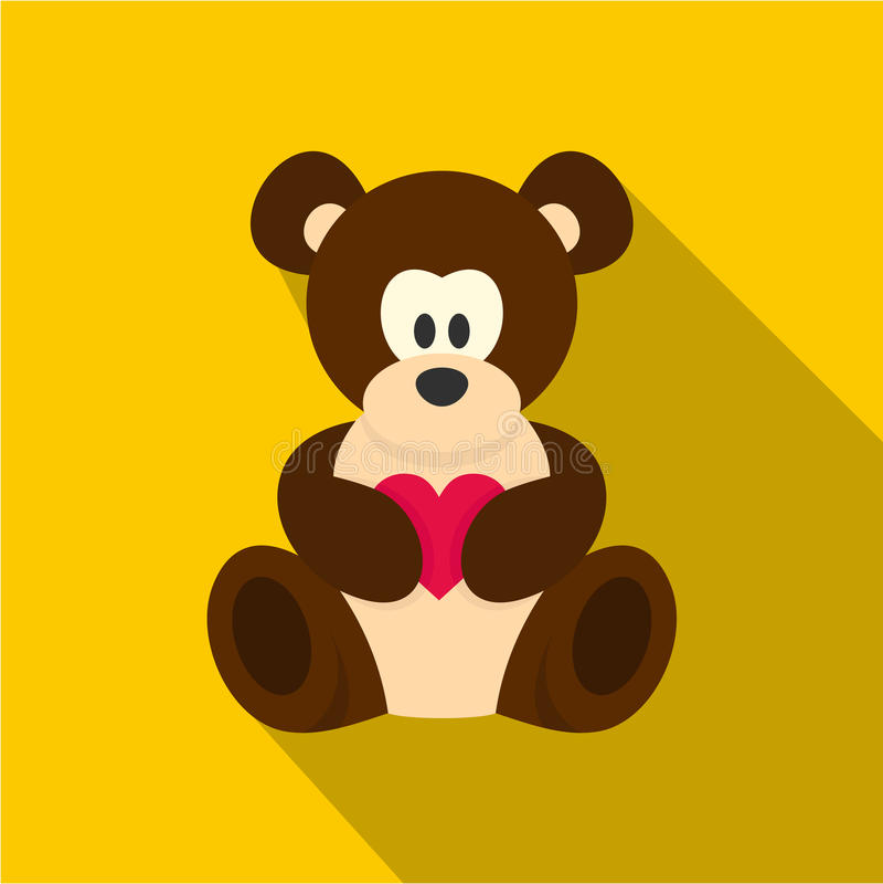 Oso de peluche con el icono rosado del corazón, estilo plano stock de ilustración