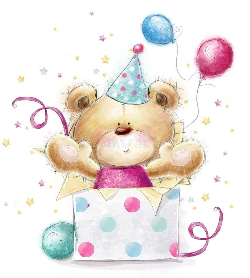 Oso de peluche con el regalo Tarjeta del feliz cumpleaños libre illustration