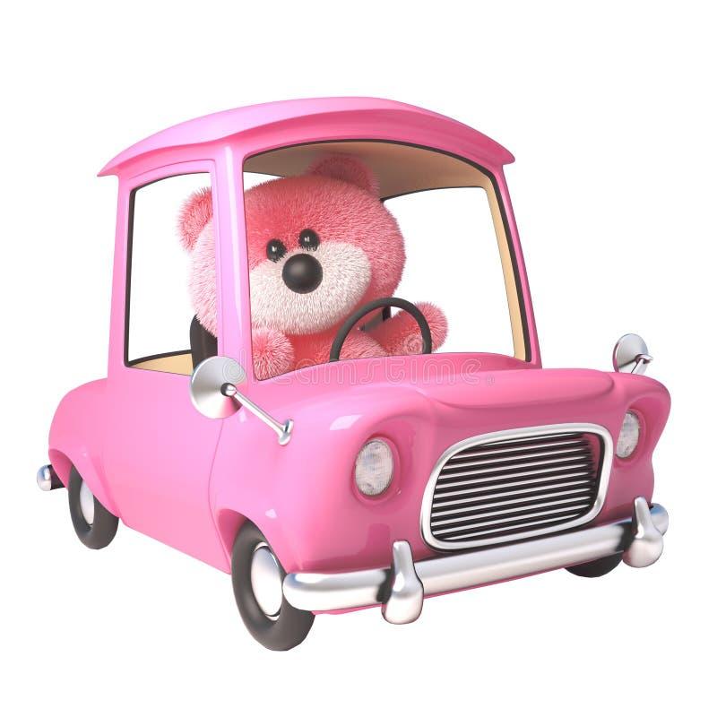 Oso de peluche con la piel mullida rosada que conduce su nuevo coche rosado, ejemplo 3d stock de ilustración
