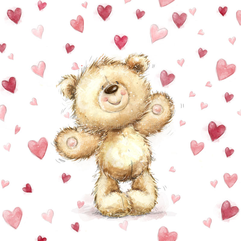 Oso de peluche con los corazones rojos Tarjeta de felicitación de las tarjetas del día de San Valentín Diseño del amor Amor stock de ilustración