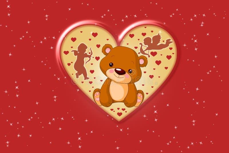 Oso de peluche de Brown del día del ` s de la tarjeta del día de San Valentín foto de archivo libre de regalías