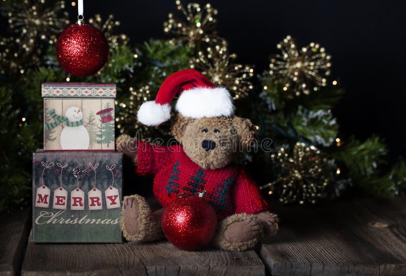 Oso de peluche de la Feliz Navidad imagen de archivo libre de regalías