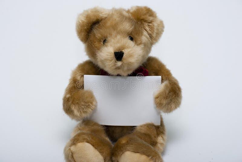 Oso de peluche del mensaje vacío imagen de archivo libre de regalías