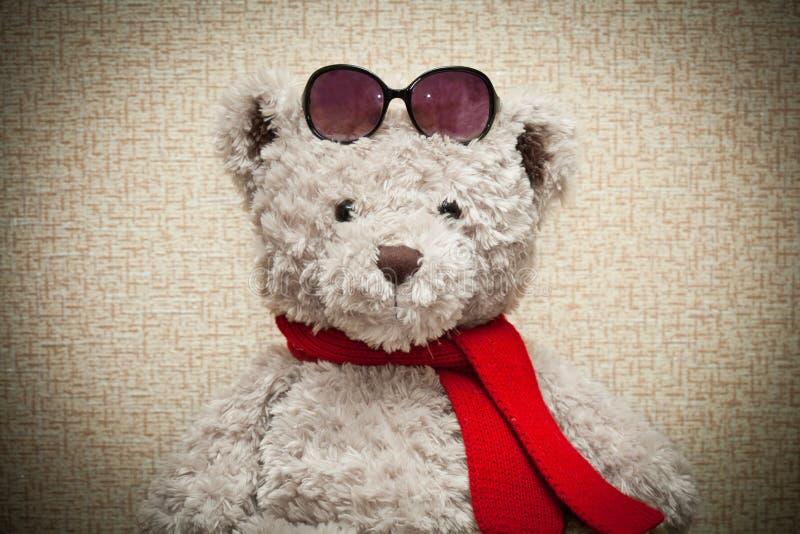 Oso de peluche en una bufanda roja fotografía de archivo libre de regalías