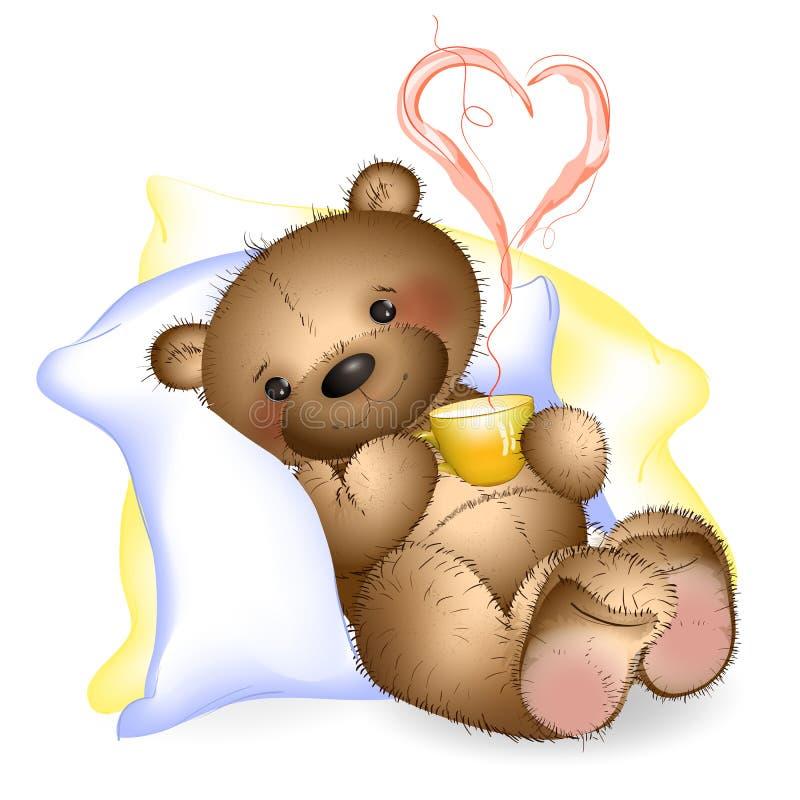 Oso de peluche feliz en las almohadas con una taza 2 ilustración del vector