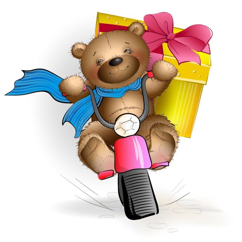 Oso de peluche feliz que monta una motocicleta con un regalo ilustración del vector
