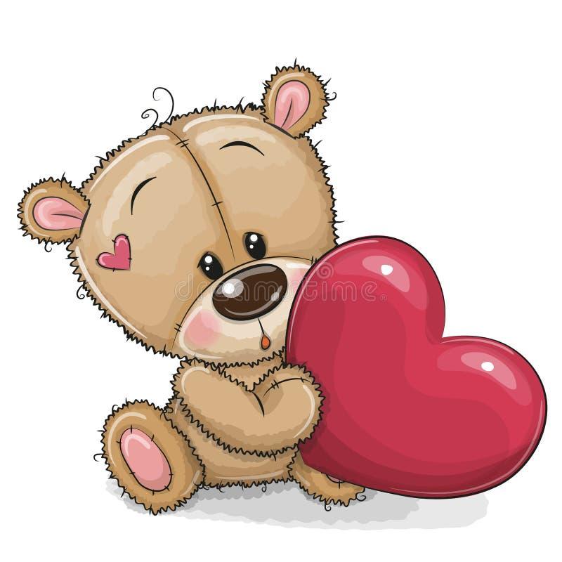 Oso de peluche lindo con el corazón stock de ilustración