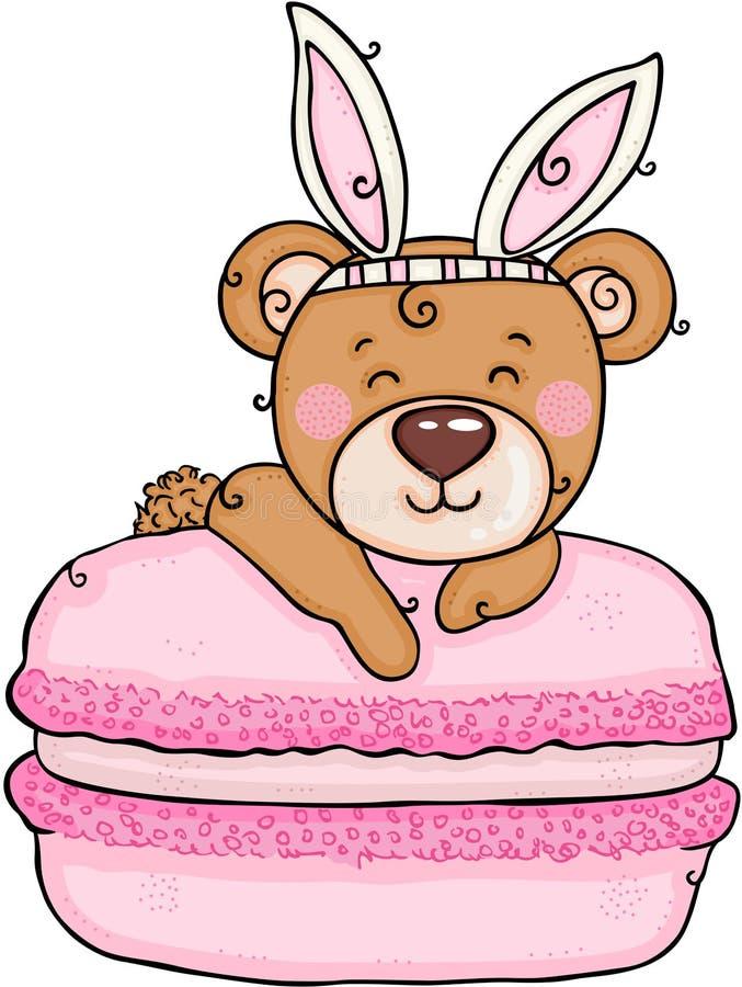 Oso de peluche lindo con los oídos del conejito en macaron rosado libre illustration