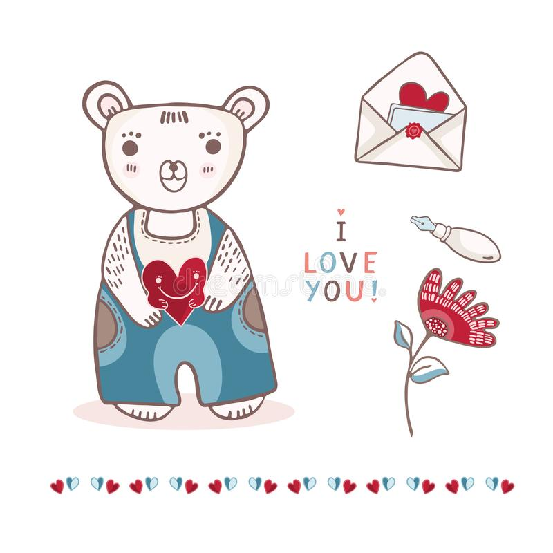 Oso de peluche lindo de la historieta con la letra y la flor de amor libre illustration