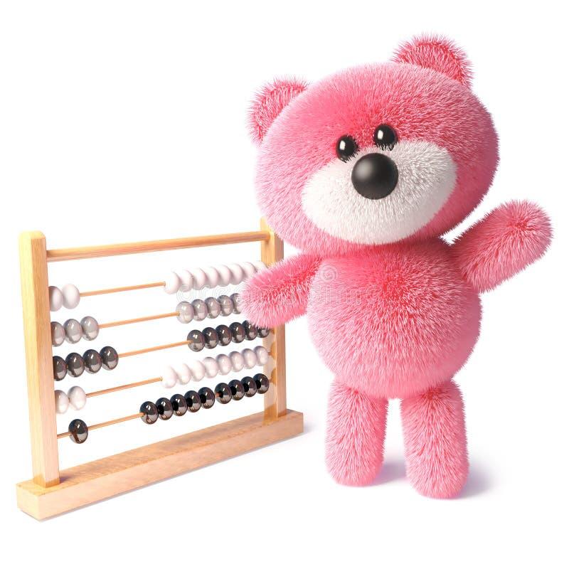 Oso de peluche listo con la piel rosada que agita mientras que aprende contar usando un ábaco, ejemplo 3d libre illustration