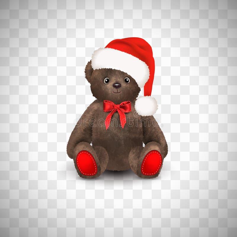 Oso de peluche marrón lindo mullido que se sienta con el sombrero de Papá Noel de la Navidad un arco rojo El juguete de los niños stock de ilustración