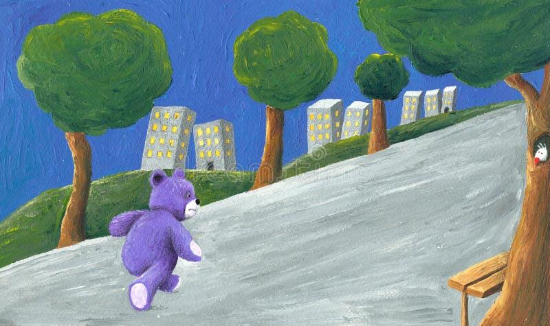 Oso de peluche púrpura que recorre en el parque ilustración del vector